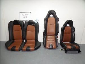 Mazda rx8 04 σέτ καθίσματα εμπρός-πίσω με airbag μαύρα-καφέ (δερμάτινα-4 ταπετσαρίες)