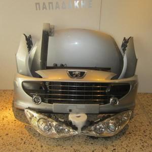 Peugeot 307 2005-2007 μπροστινή μετώπη κομπλέ ασημί (καπώ-2  φτερά-2 φανάρια-μετώπη-ψυγεία-προφυλακτήρας με προβολείς-τραβέρσα)