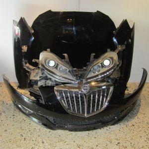 Lancia Delta 2008-2017 μετώπη-μούρη κομπλέ μαύρη (καπώ-2 φτερά-2 φανάρια-προφυλακτήρας-μετώπη με ψυγεία-intercooler κ τραβέρσα)