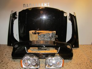 Jeep Grand Cherokee 2005-2008 μετώπη-μούρη εμπρός μαύρη( καπό,1 φτερό αριστερό,προφυλακτήρας με αισθητήρες και προβολείς,ψυγεία κομπλέ,2 φανάρια,κουμπάσα καπό)