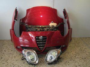Alfa Romeo Mito 2008-2016 μούρη κομπλέ κόκκινη:(καπώ-2 φτερά-2 φανάρια-προφυλακτήρας με αισθητήρες-μετώπη με ψυγεία κομπλέ κ τραβέρσα)